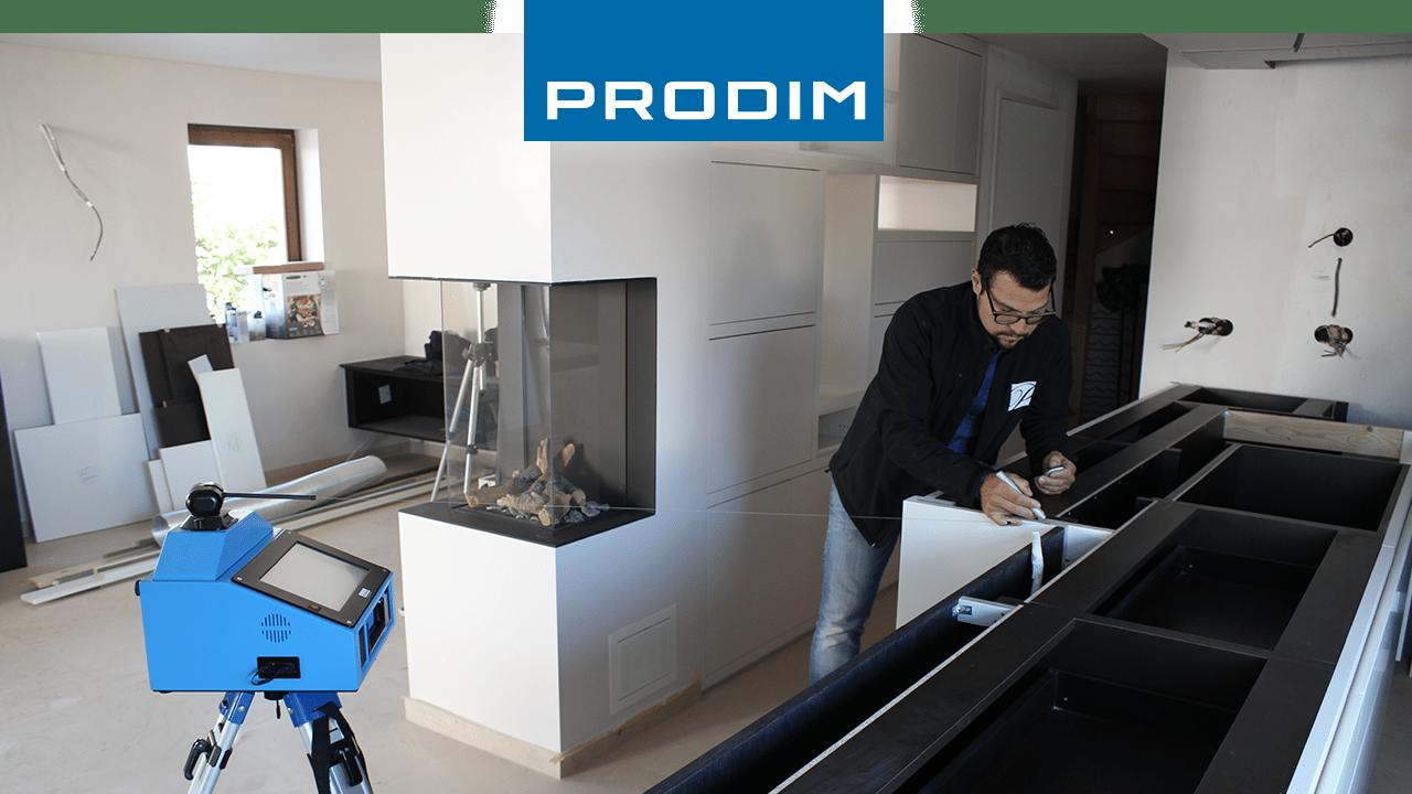 Prodim, filmato del Proliner mentre misura un piano cucina (cliente: Potier Stone, Belgio)