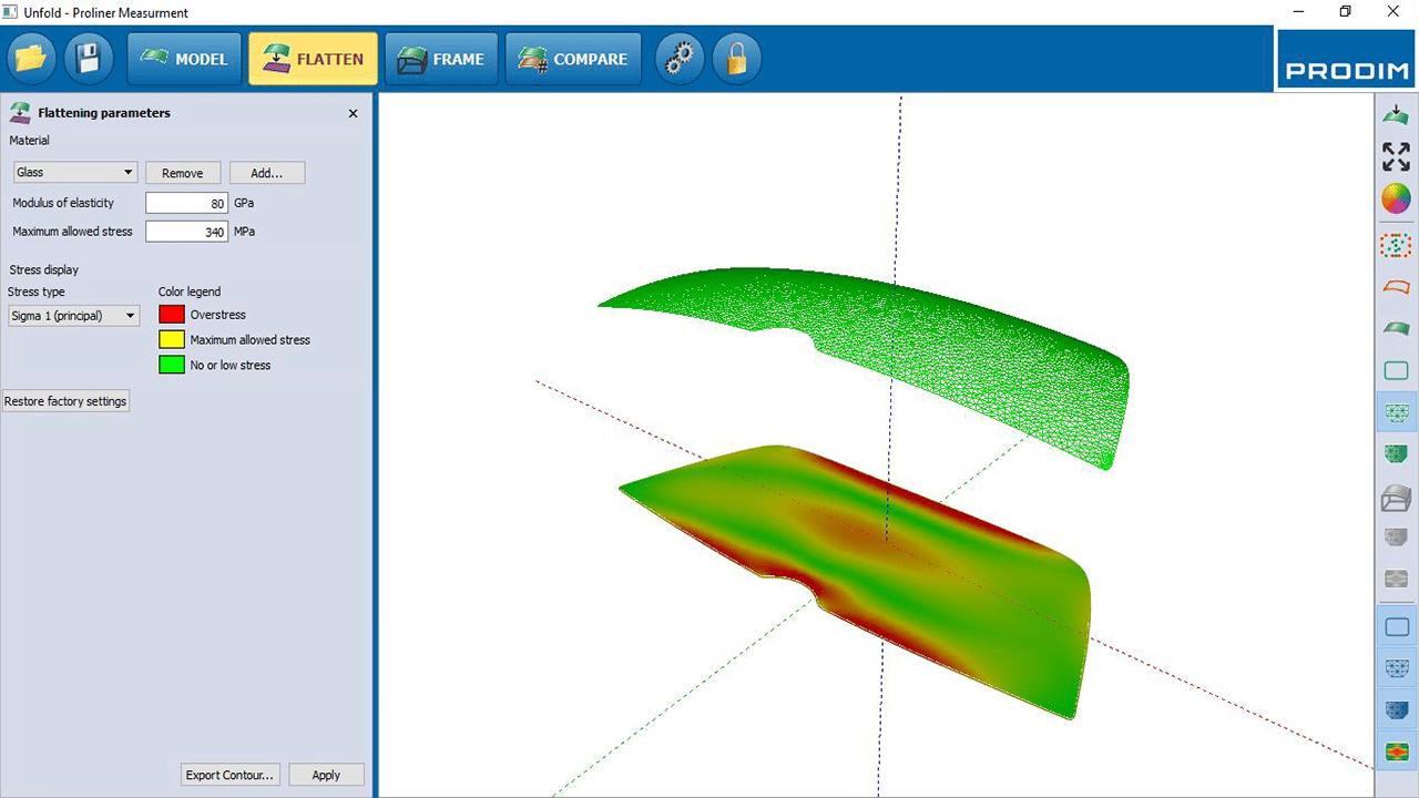 Icona - Software Prodim Bent Glass (vetro doppia curvature) – Flatten (Spianamento)