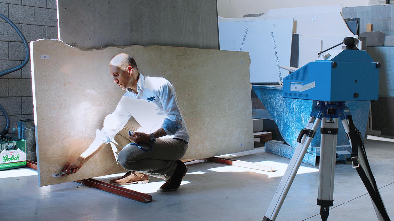 Prodim, soluzioni tecniche per l'industria della pietra – Misurazione digitale di lastre di pietra